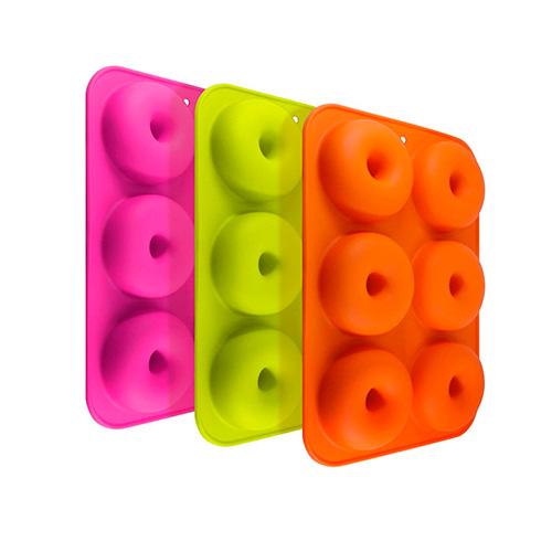 3 moldes de silicona para donuts