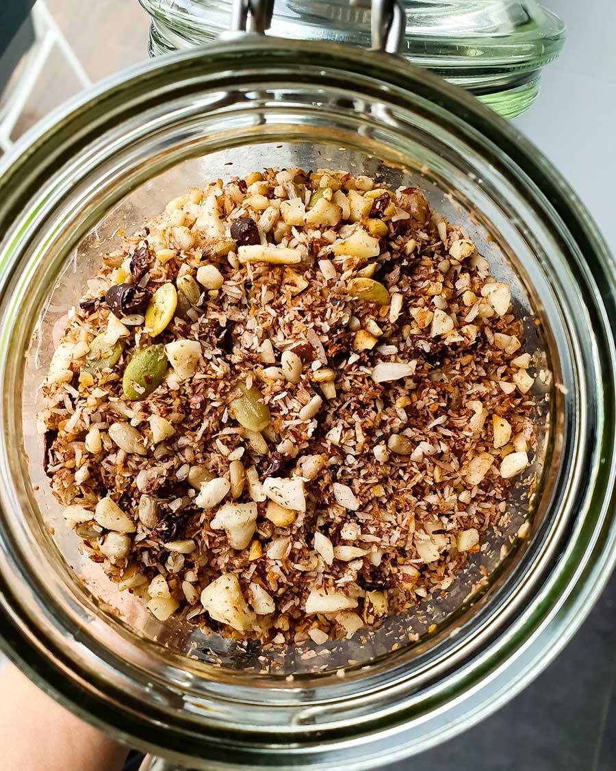 Granola sin gluten de coco y cacao