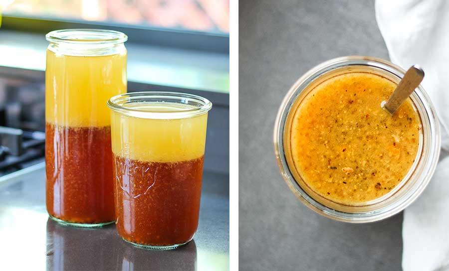 Salsa para pavo asado elaborada con los jugos de la cocción